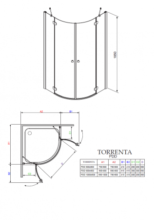Душевой угол RADAWAY Torrenta KDJ 100 х 80 32242-01-10 L/R