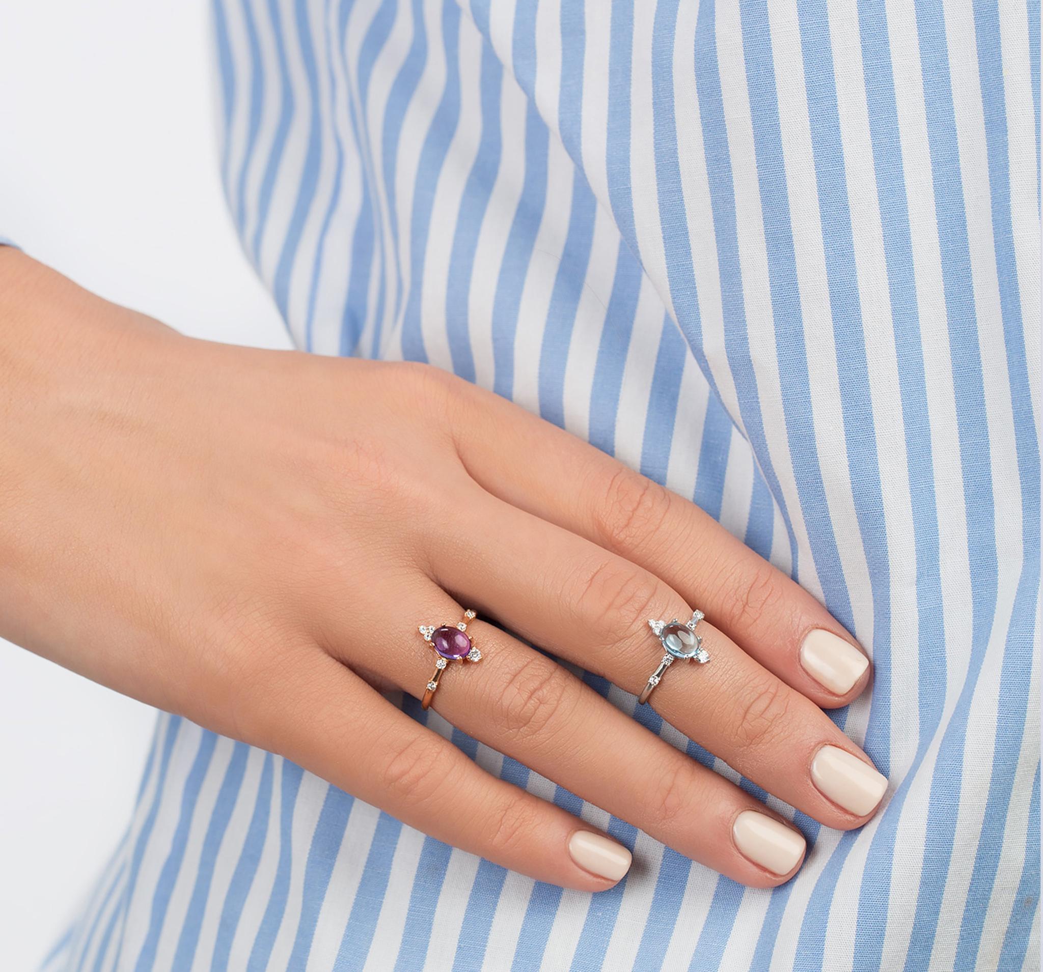 Кольцо из позолоченного серебра с кабошоном натурального аметиста от MOONKA STUDIO