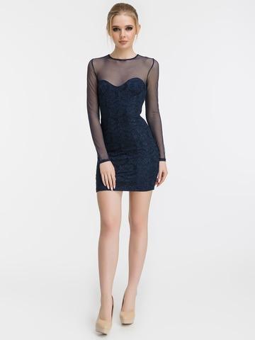 Блестящее кружевное мини платье, синее 2