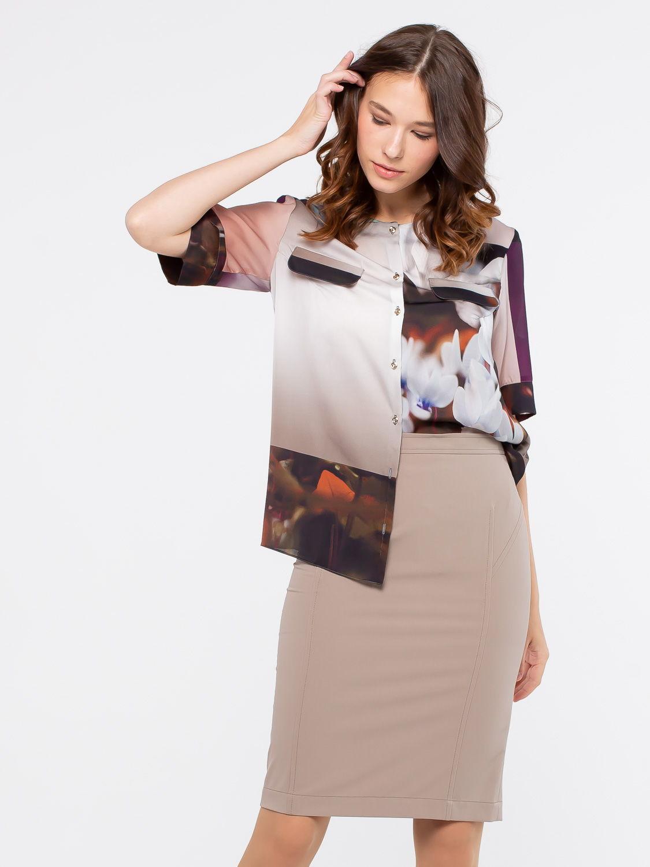 Блуза Г572-188 - Свободная блуза с принтом с рукавами до локтя. Отлично смотрится на фигуре любого типа, подойдет как для офиса для так и на каждый день.