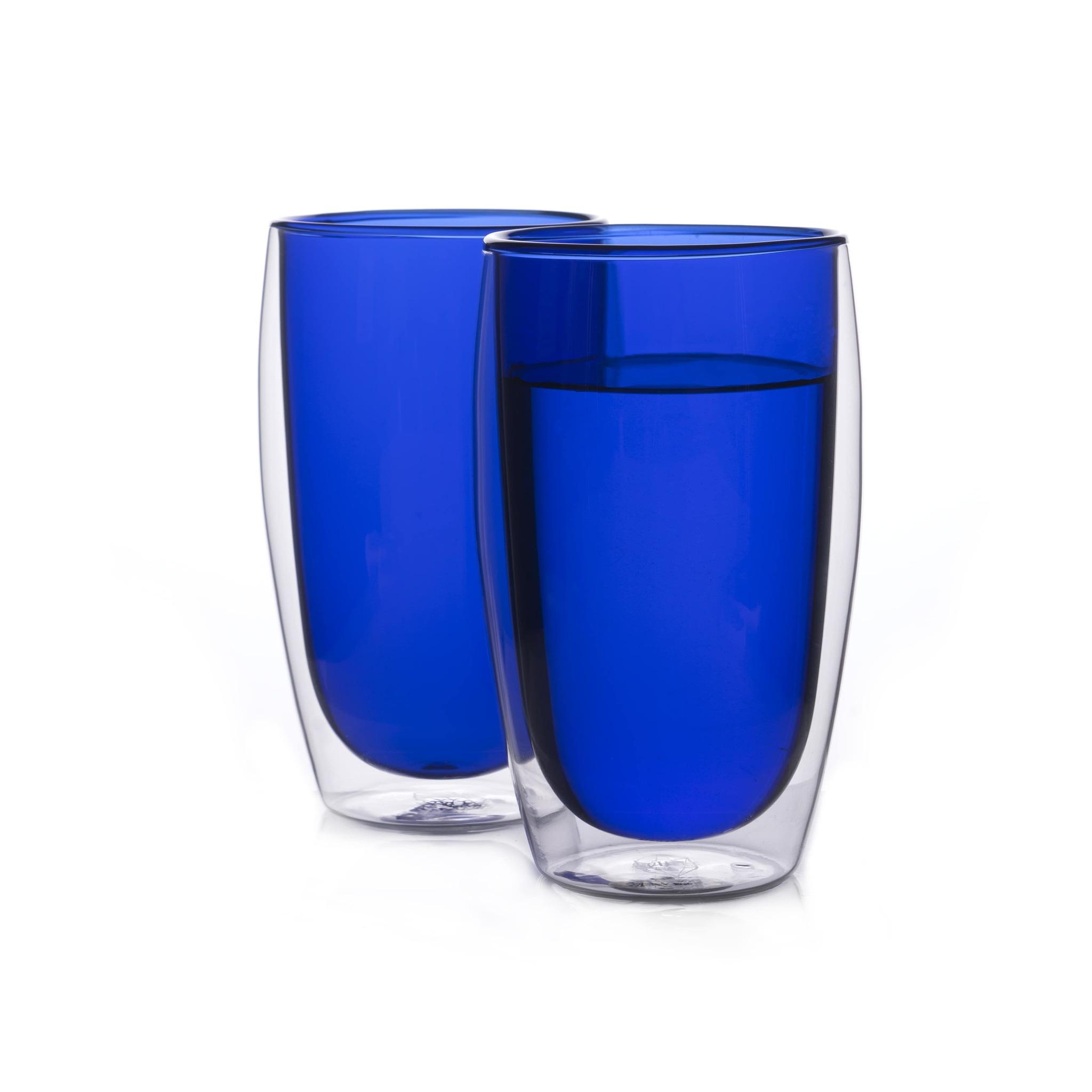 Цветные стаканы и кружки Стеклянные стаканы с двойными стенками синего цвета 2 штуки, 450 мл синий1-min.jpg