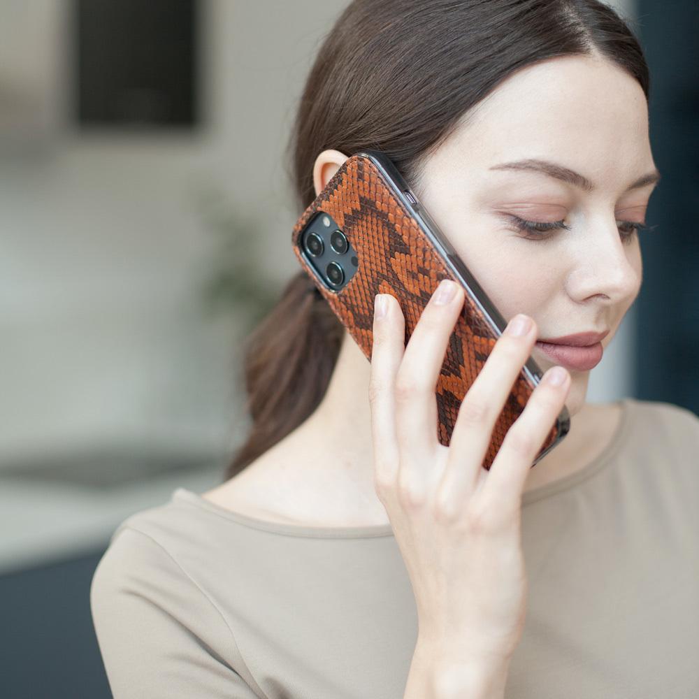 Чехол-накладка для iPhone 12 Pro Max из натуральной кожи питона, цвета Коньяк