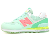 Кроссовки Женские New Balance 574 Light Green Coral Yellow