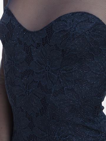 Блестящее кружевное мини платье, синее 3