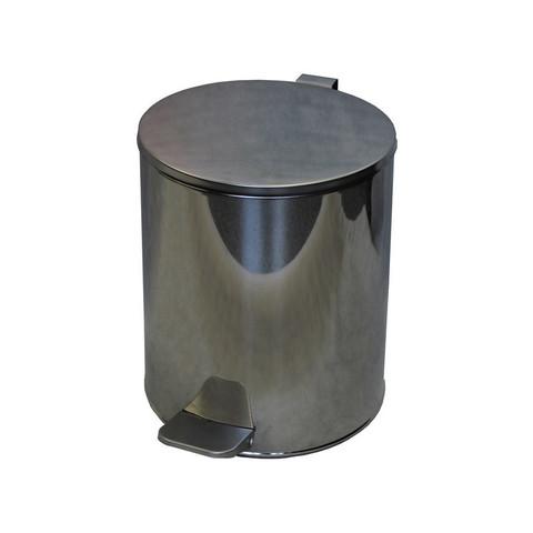 Ведро для мусора с педалью 15 л нержавеющая сталь хром (25х33 см)