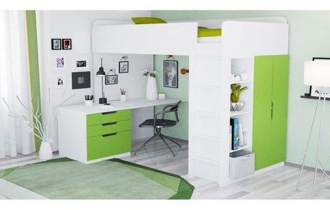 Кровать-чердак Polini kids Simple с письменным столом и шкафом, белый-лайм МДФ