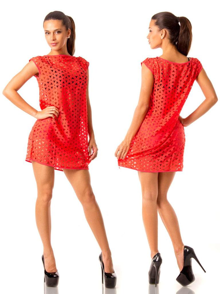 Пляжное платье-туника с шортиками, коралл
