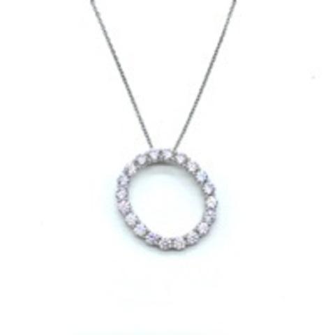 Подвеска  буква O из серебра с цирконами бриллиантовой огранки в  невидимой закрепке