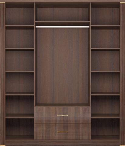 Шкаф для одежды четырехдверный Париж 2 с зеркалом Ижмебель дезира темная/орех натуральный глянец