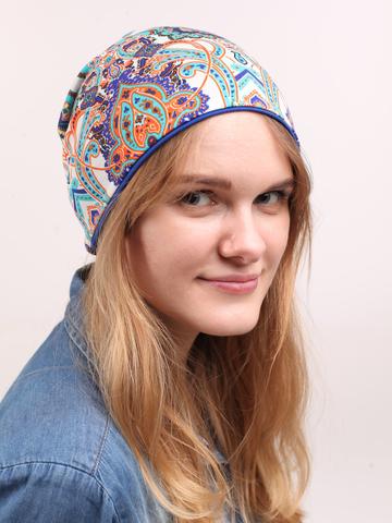 Женская летняя шапка-бини из вискозного трикотажа с узором пейсли