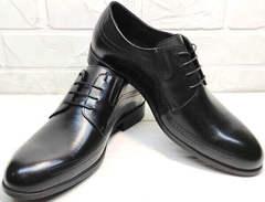 Строгие мужские туфли под костюм Ikoc 3416-1 Black Leather.
