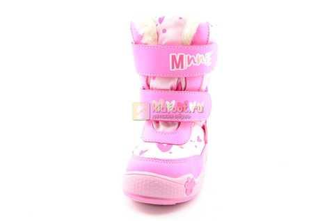 Зимние сапоги Минни Маус (Minnie Mouse) на липучках с мембраной для девочек, цвет розовый. Изображение 5 из 13.