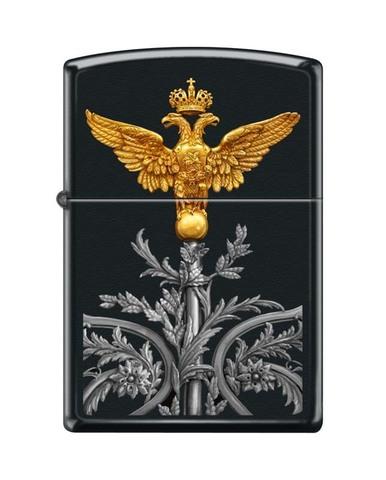 Зажигалка ZIPPO Classic Black Matte™Полноцветное изображение двуглавого орла   ZP-218 RUSSIAN COAT OF ARMS
