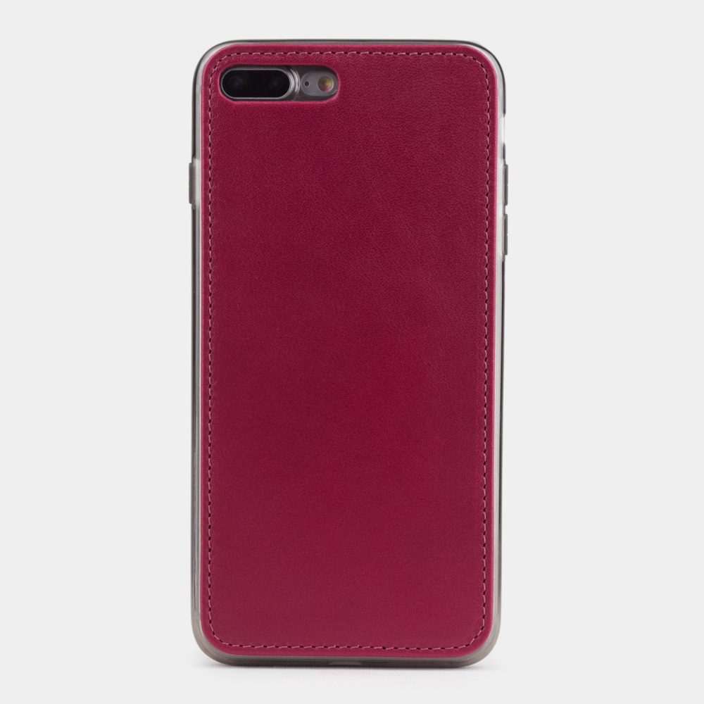 Чехол-накладка для iPhone 8 Plus из натуральной кожи теленка,  цвета малины