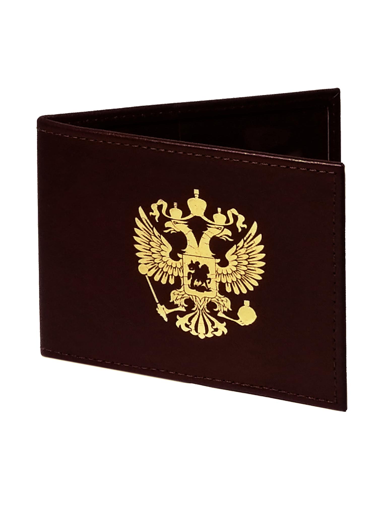 Обложка для удостоверения | Золотой Герб | Бордо