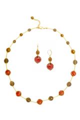 Ожерелье и серьги из муранского стекла красно-золотые