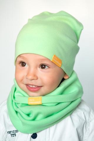 Детский снуд-горловинка из хлопка в рубчик светло-салатовый