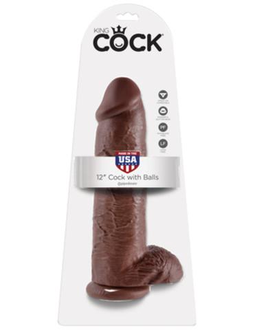 PipeDream King Cock Фаллоимитатор реалистик с мошонкой на присоске коричневый, L=30,5см, d=7,6см