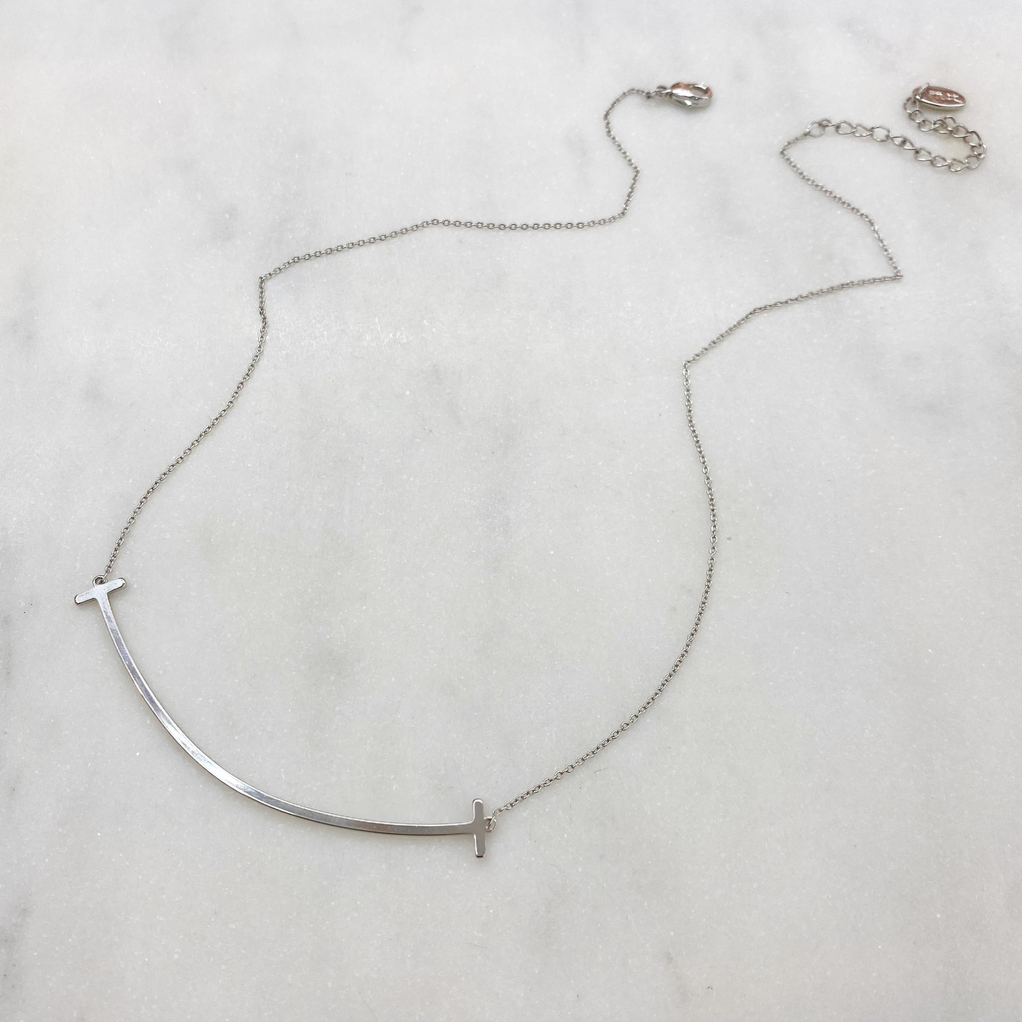 Колье со вставкой-скобой серебряный