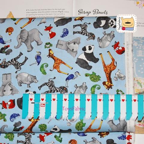 Ткань для пэчворка 20935 (зоопарк на голубом) 45х55см
