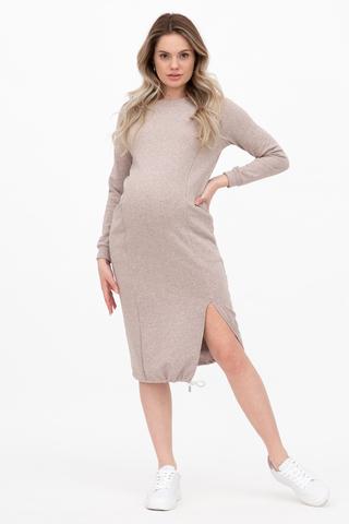 Платье для беременных и кормящих 12356 бежевый меланж