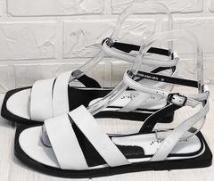 Модные сандали кожаные босоножки женские Brocoli H1886-9165-S873 White.