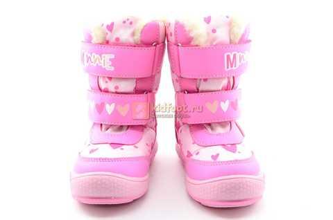 Зимние сапоги Минни Маус (Minnie Mouse) на липучках с мембраной для девочек, цвет розовый. Изображение 6 из 13.