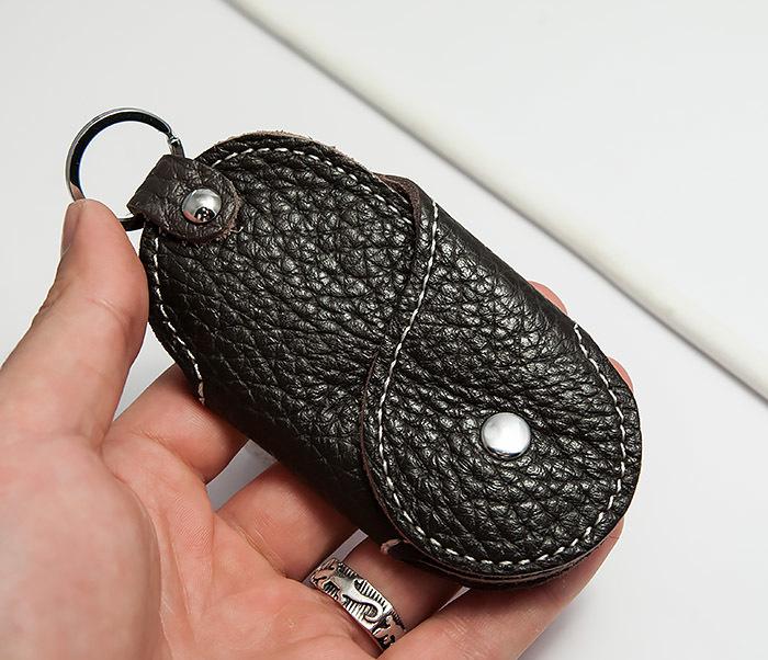 KK409-2 Ключница из натуральной кожи с кольцом фото 05