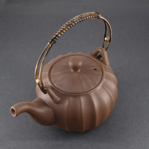 Чайник глиняный для кипячения Чаочжоу ребристый, 700мл