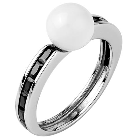 Кольцо из серебра с черной нано шпинелью и белым кварцем  Арт.1084н-шп-кв