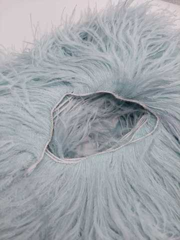 Премиум Тесьма  из перьев страуса на нитке в 2 слоя h 10-15 см., Пыльный голубой