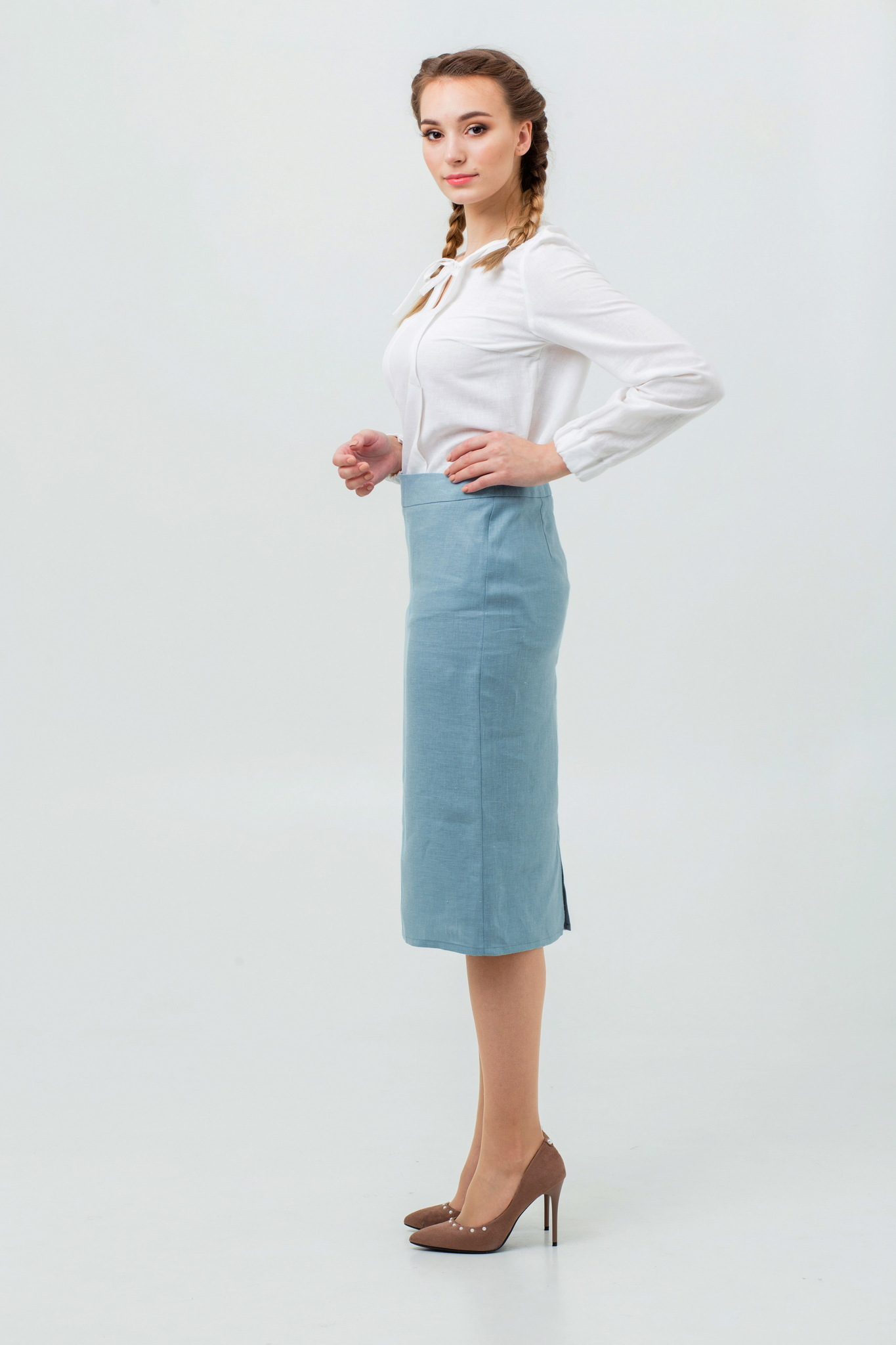 Льняная юбка в офис купить