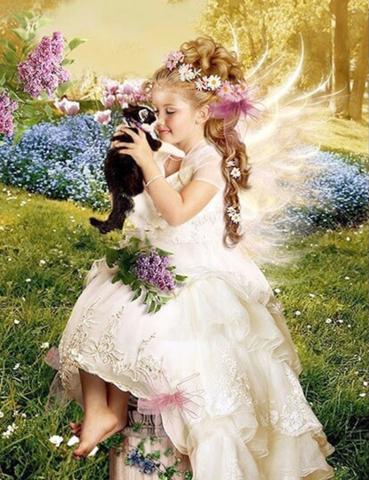 Алмазная Мозаика 40x50 Милая девочка с котенком