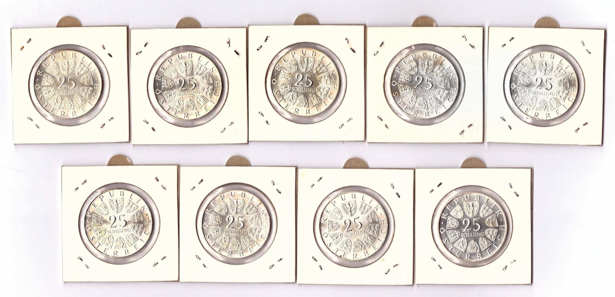 Полный комплект монет 25 шиллингов. Австрия. 1955-1973 гг. Серебро XF-AU, AU.