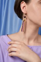 Серьги из бисера золотисто-фиолетовые