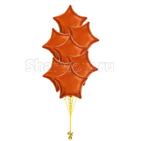 Букет из шаров звезд оранжевый