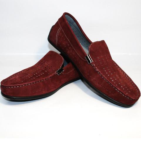 Летние туфли без каблука. Бордовые мокасины мужские кожаные IKOC Red