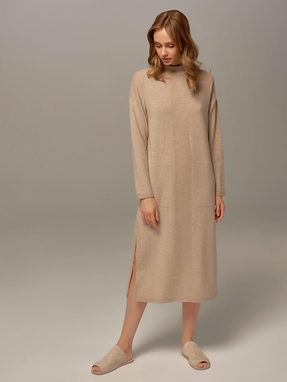 Женское платье бежевого цвета из шерсти и кашемира - фото 1