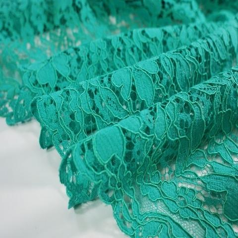 Ткань кружево кордовое цвет изумрудный 3102