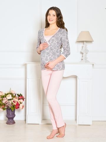 Vivamama. Пижама для беременных и кормящих Lilu, персик