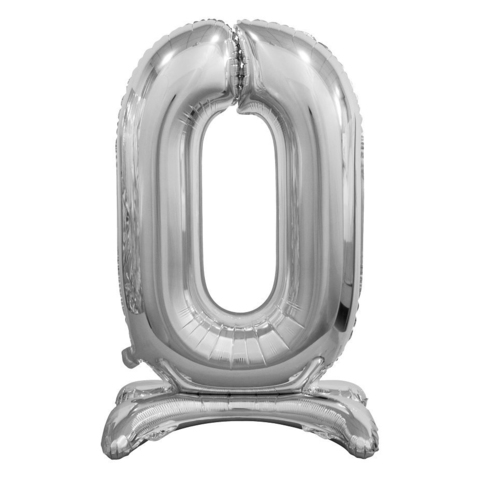 Цифра 0 Серебряная на подставке