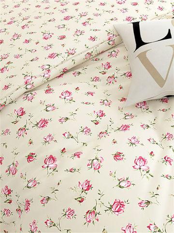 Простынь  -Розовые бутоны на бежевом- 150х215 см 1,5-спальная
