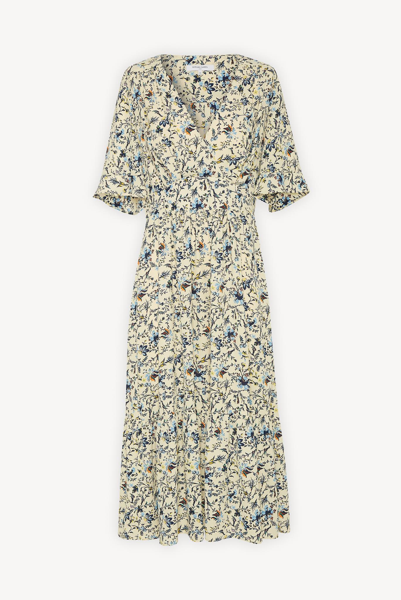 Платье миди из крепа с принтом
