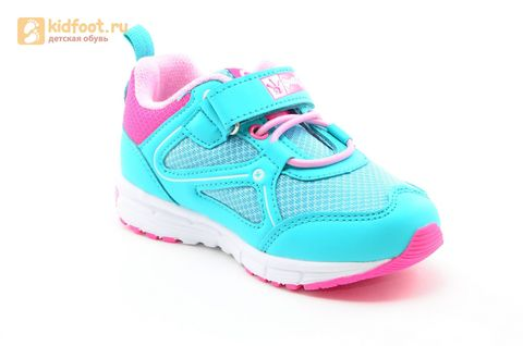 Светящиеся кроссовки для девочек Фиксики на липучках, цвет бирюзовый, мигает картинка сбоку. Изображение 2 из 14.