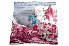 Итальянский платок из шелка серо-розовый с картиной 5452