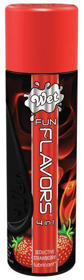 Разогревающий лубрикант Fun Flavors 4-in-1 Seductive Strawberry с ароматом клубники - 121 мл.