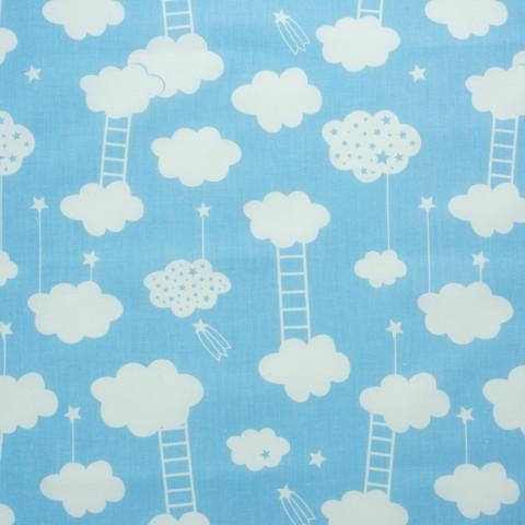 Ткань хлопковая облачка с лесенками на голубом, отрез 50*80 см