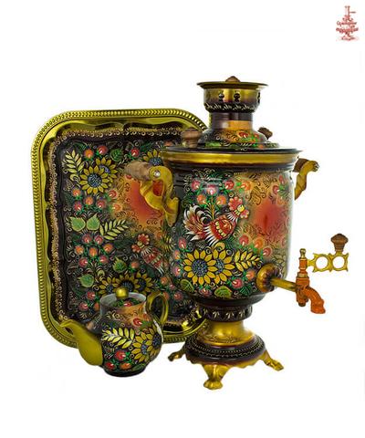 Самовар на дровах расписной «Подсолнухи» формой банка 7л в наборе с подносом и чайником
