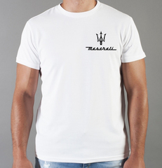 Футболка с принтом Мазерати (Maserati) белая 0011