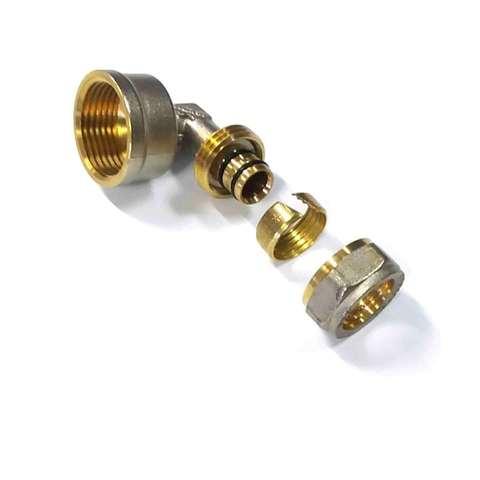 Угол обжимной для металлопластиковых труб 16х3/4 внутренняя резьба Valve